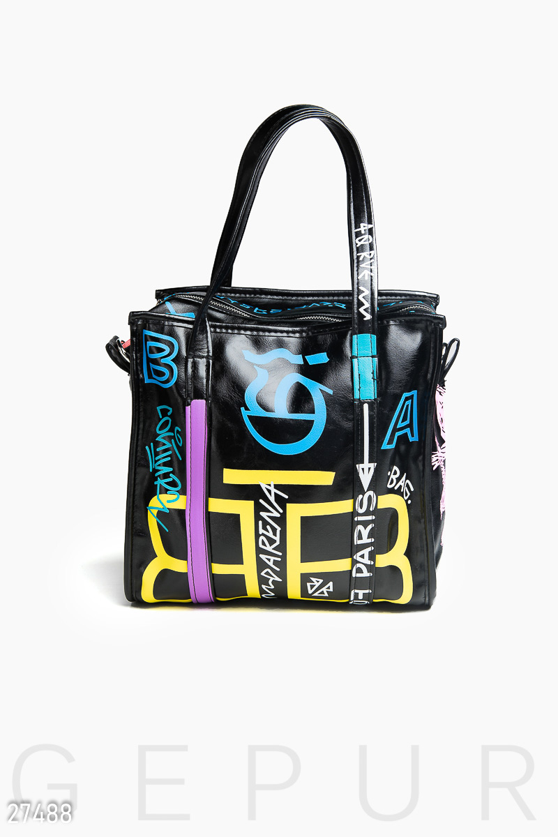 Leather bag with print Black 27488