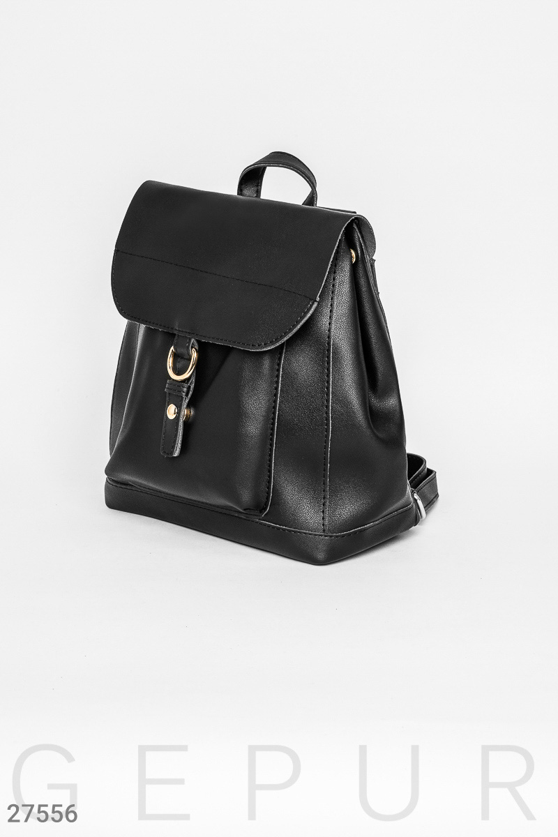 Leather backpack bag Black 27556