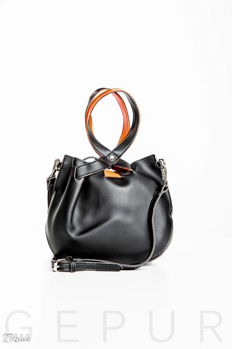 Leather bag, pouch Black 27644