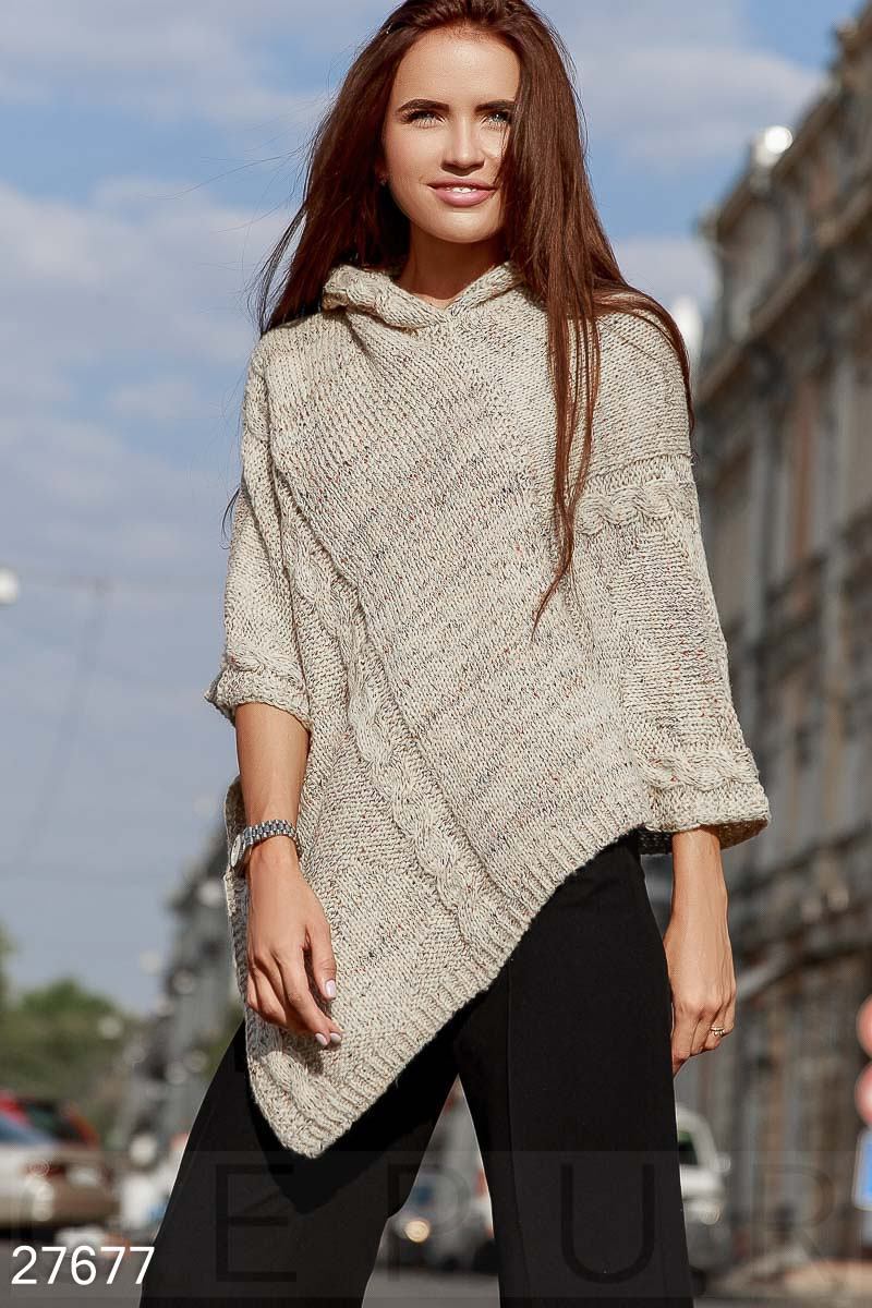 Poncho with hood Beige 27677