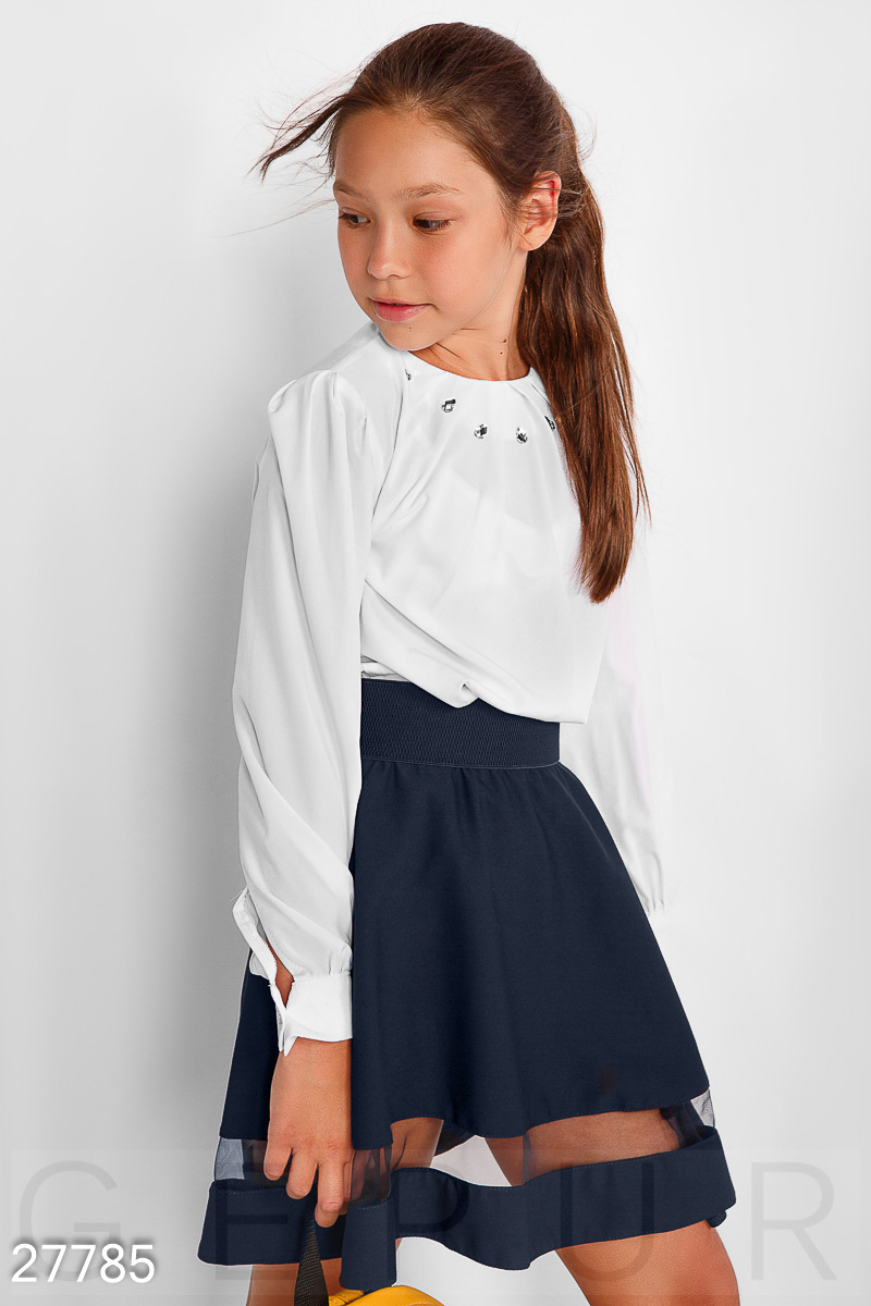 Decorated school blouse White 27785