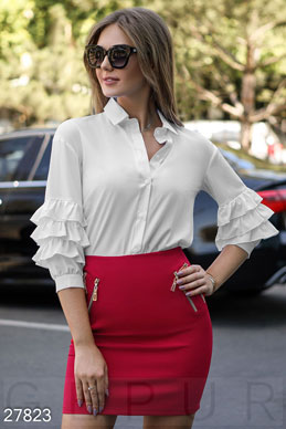Office blouse with ruffles  photo 1