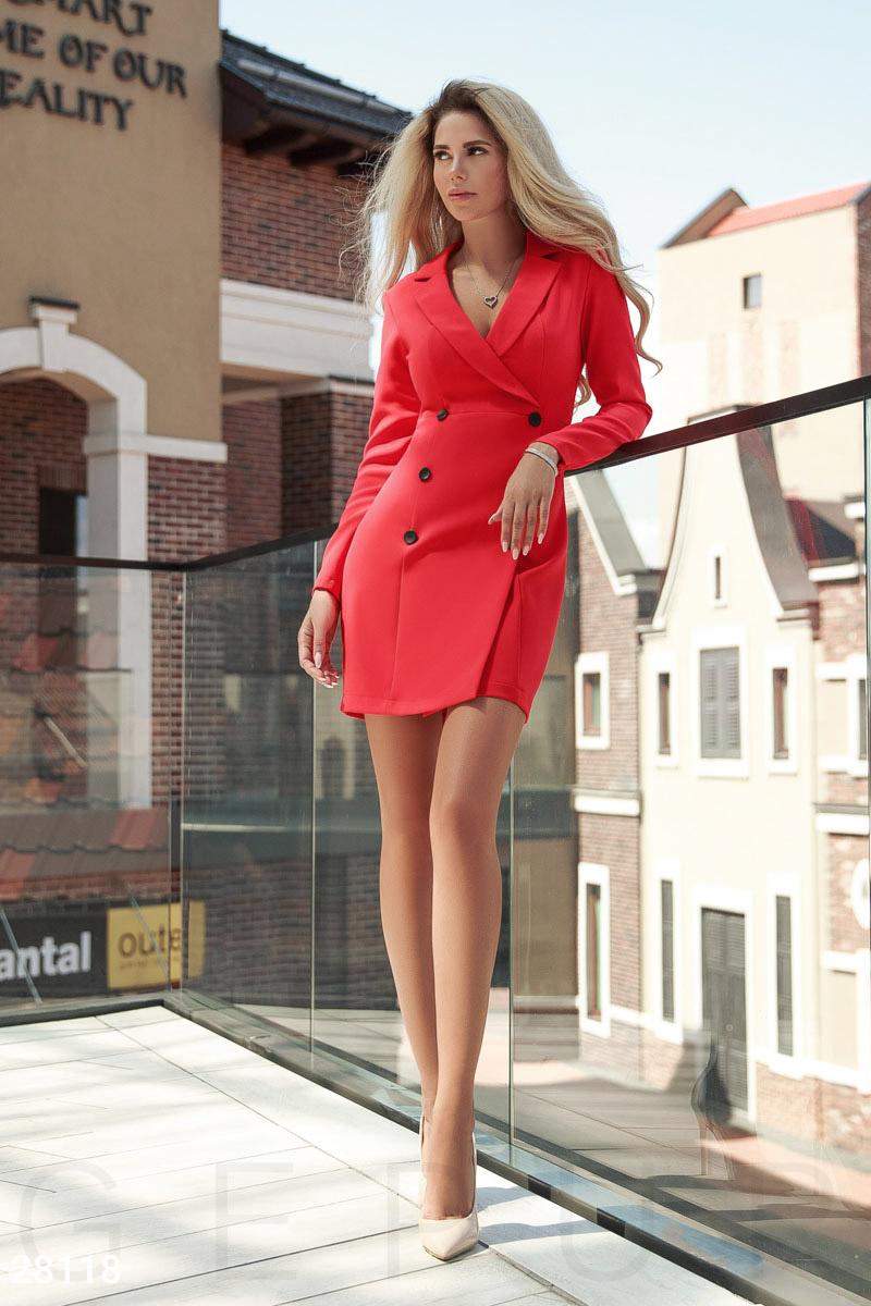 Оригінальне ділове плаття в стилі піджак-обманка  акуратні лацкани  загостреної форми 2db9c4d1e8e48