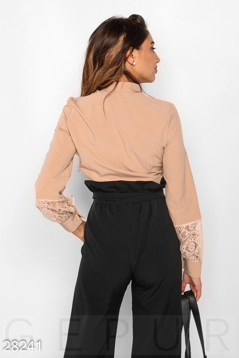Blouse with inserts Beige 28241