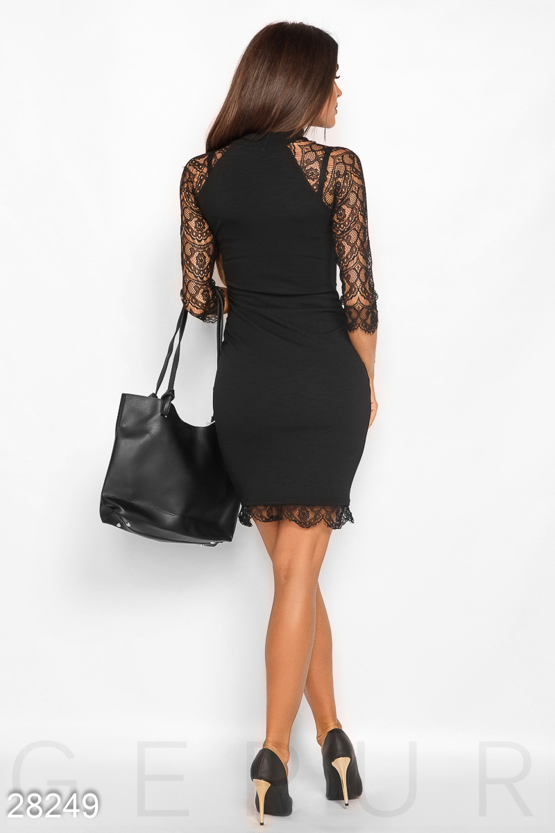 Dress with guipure Black 28249