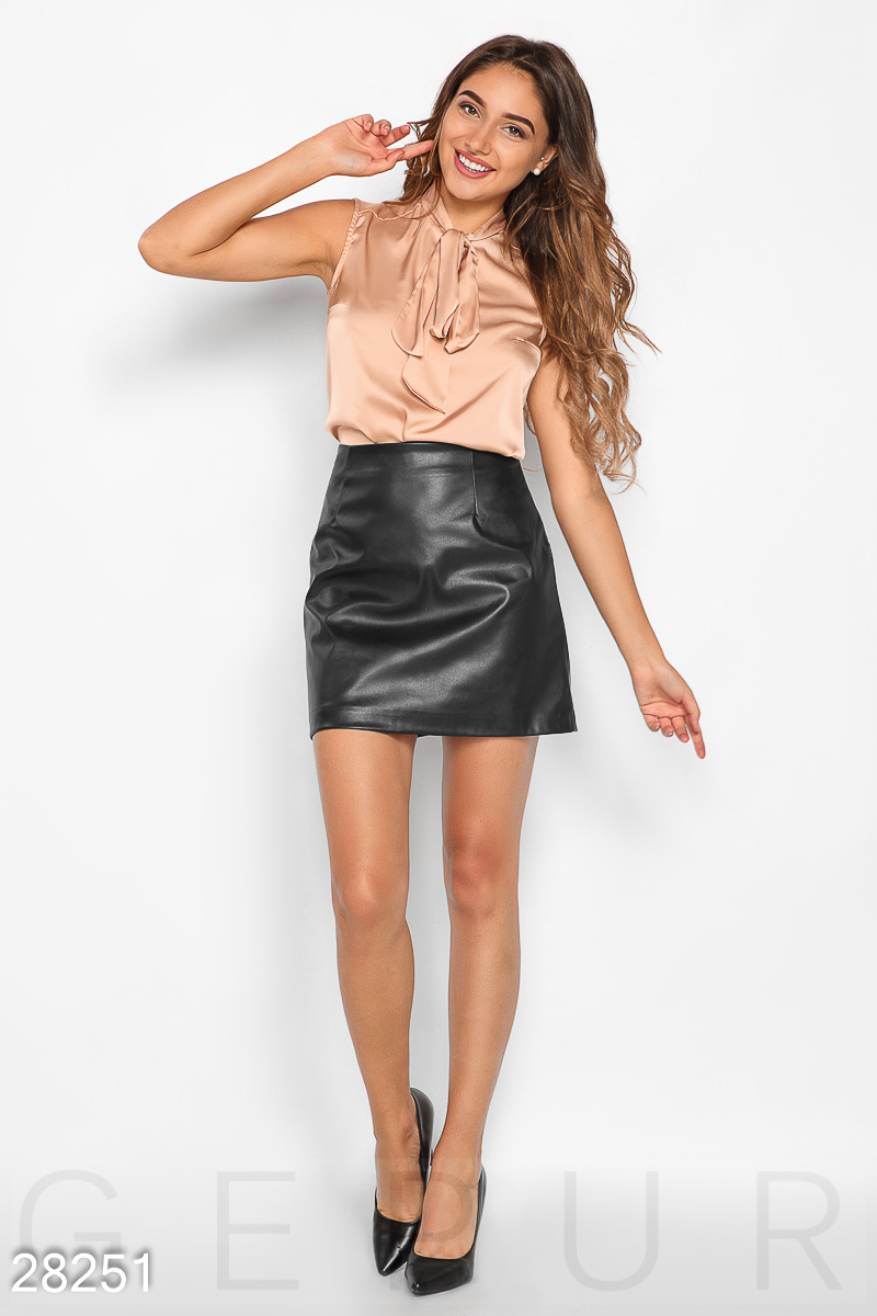 Leather a-line skirt Black 28251