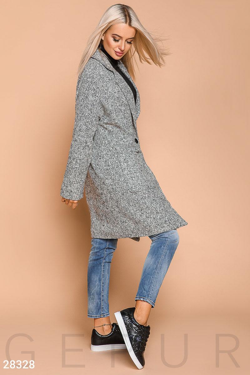 22a549ded49 Актуальное твидовое пальто в стиле boyfriend  два больших накладных  кармана