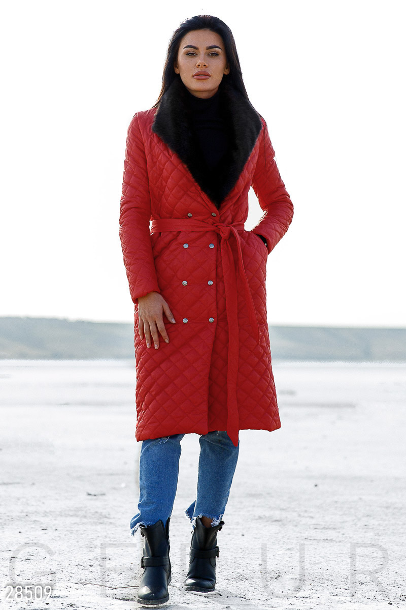 Coat with fur Red 28509