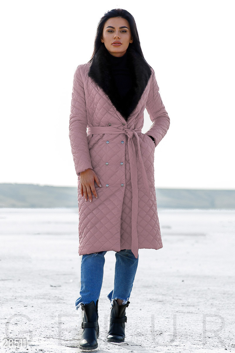 Elongated quilted coat Pink 28511