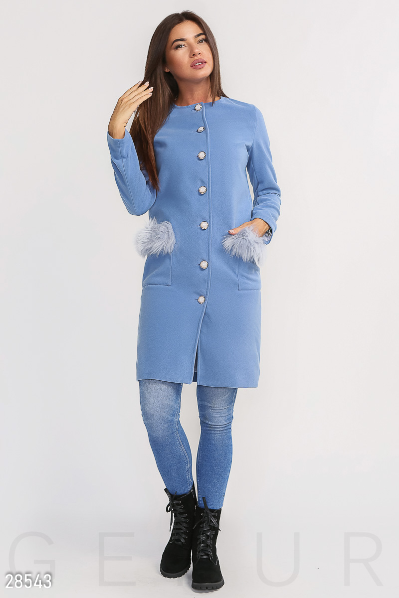 Комфортное пальто с мехом