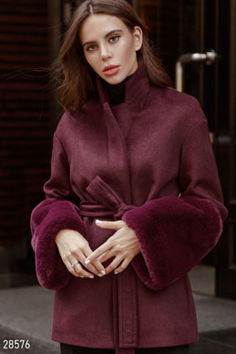 Wool coat with fur photo 1