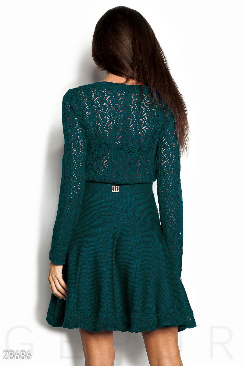 Flared warm dress Green 28686