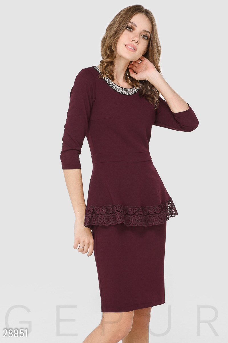 Office dress with peplum Red 28851