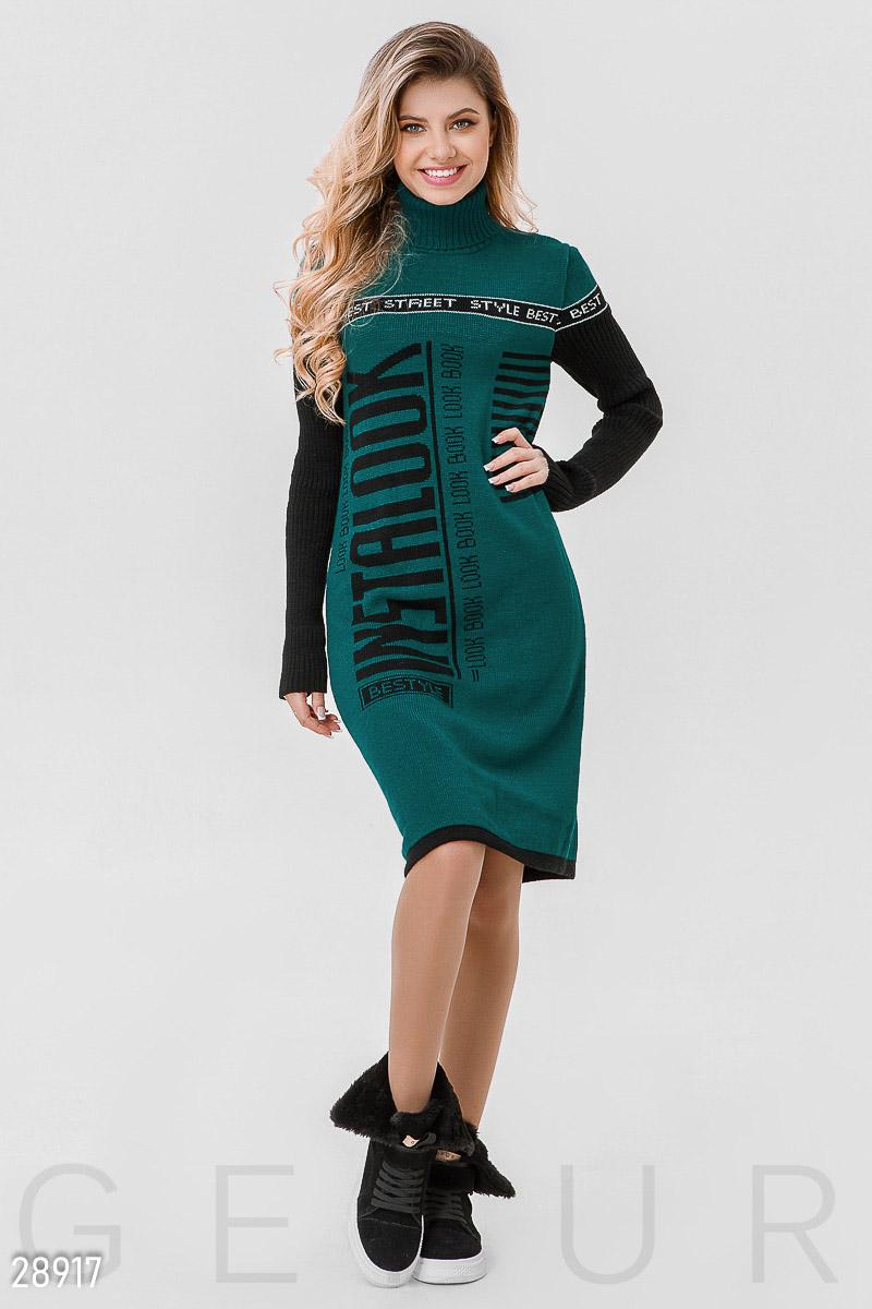 c58ca40dbb1 Теплое платье-свитер с высоким воротником и длинным рукавом в рубчик