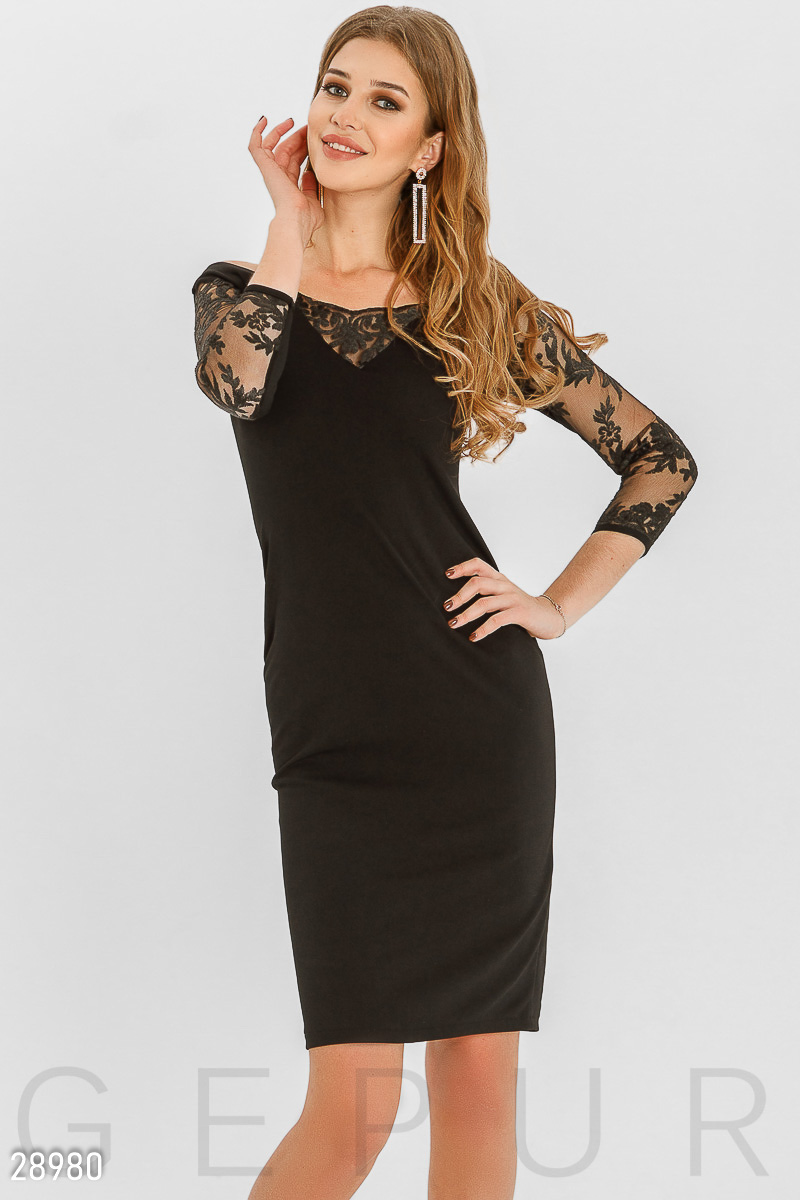 Dress with embroidery Black 28980
