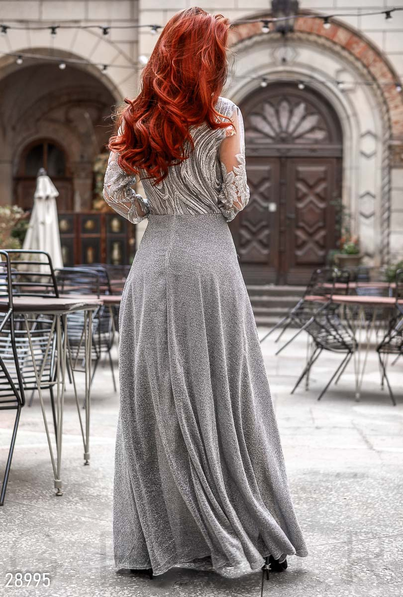 Evening dress with lurex Grey 28995