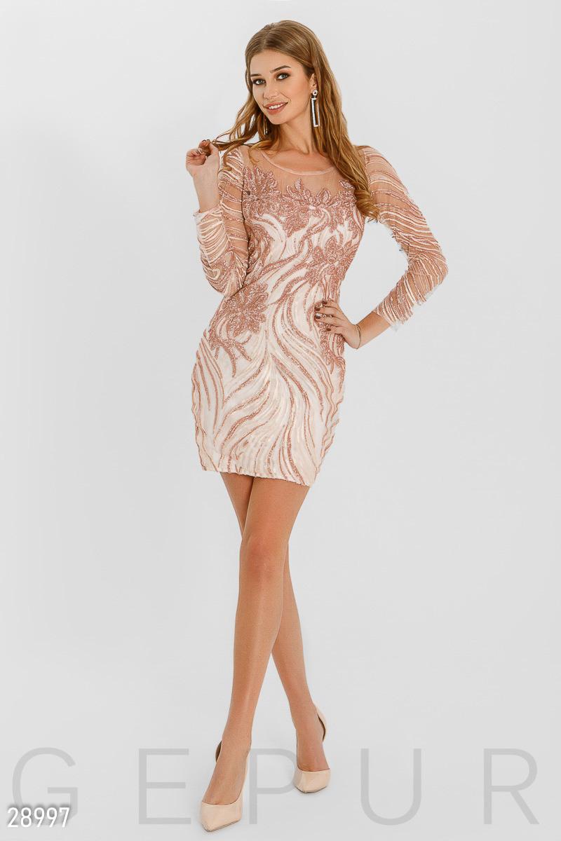 f321d1a5d Коктейльное платье-мини из прозрачной сетки, украшенное вышивкой и  пайетками: аккуратный круглый вырез, прозрачная кокетка и спинка,  облегающий рукав 3/4.