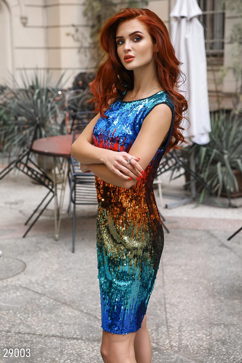 Dress with colored sequins