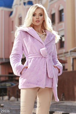 Short eco-fur coat photo 1