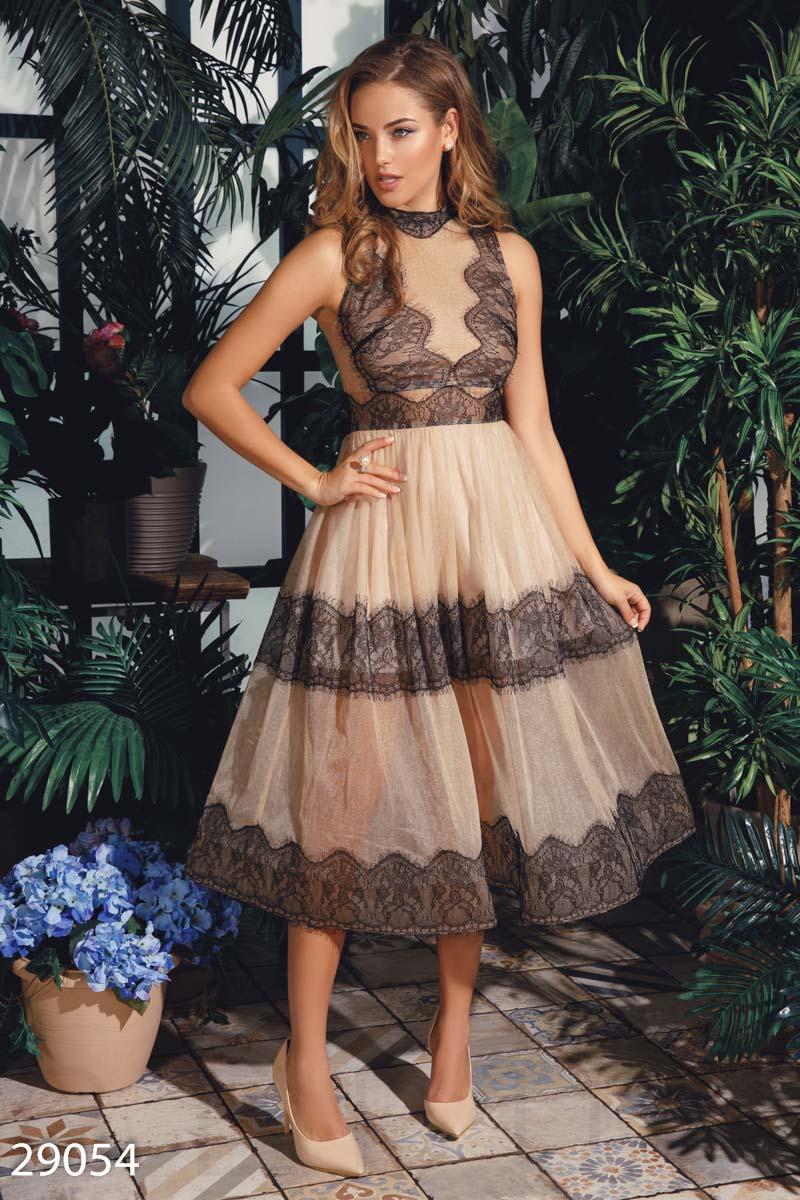 Вечернее платье с кружевом 29054