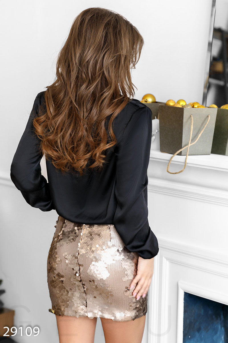 Evening mini skirt Golden 29109
