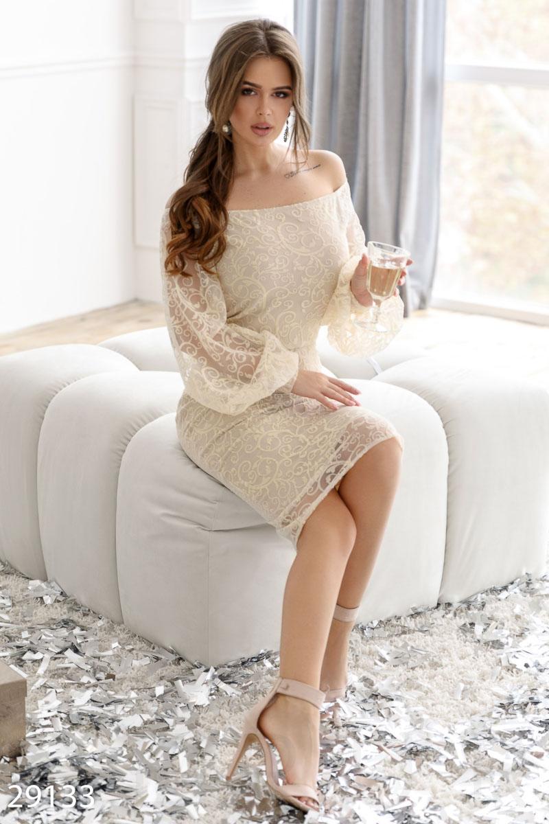 Вечернее гипюровое платье 29133