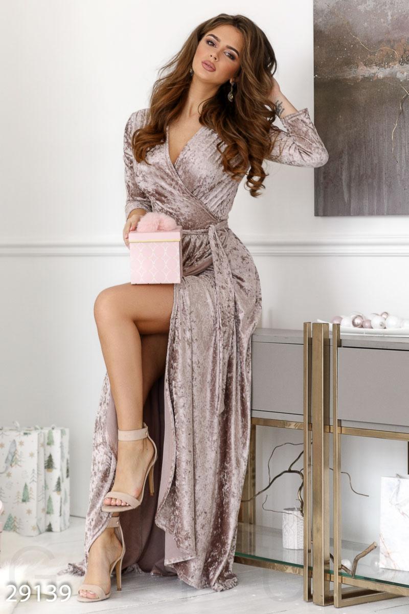 Бархатное платье-халат 29139