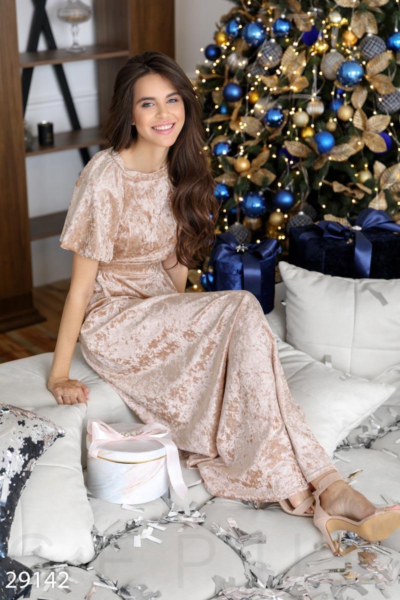 Бархатное платье-макси 29142