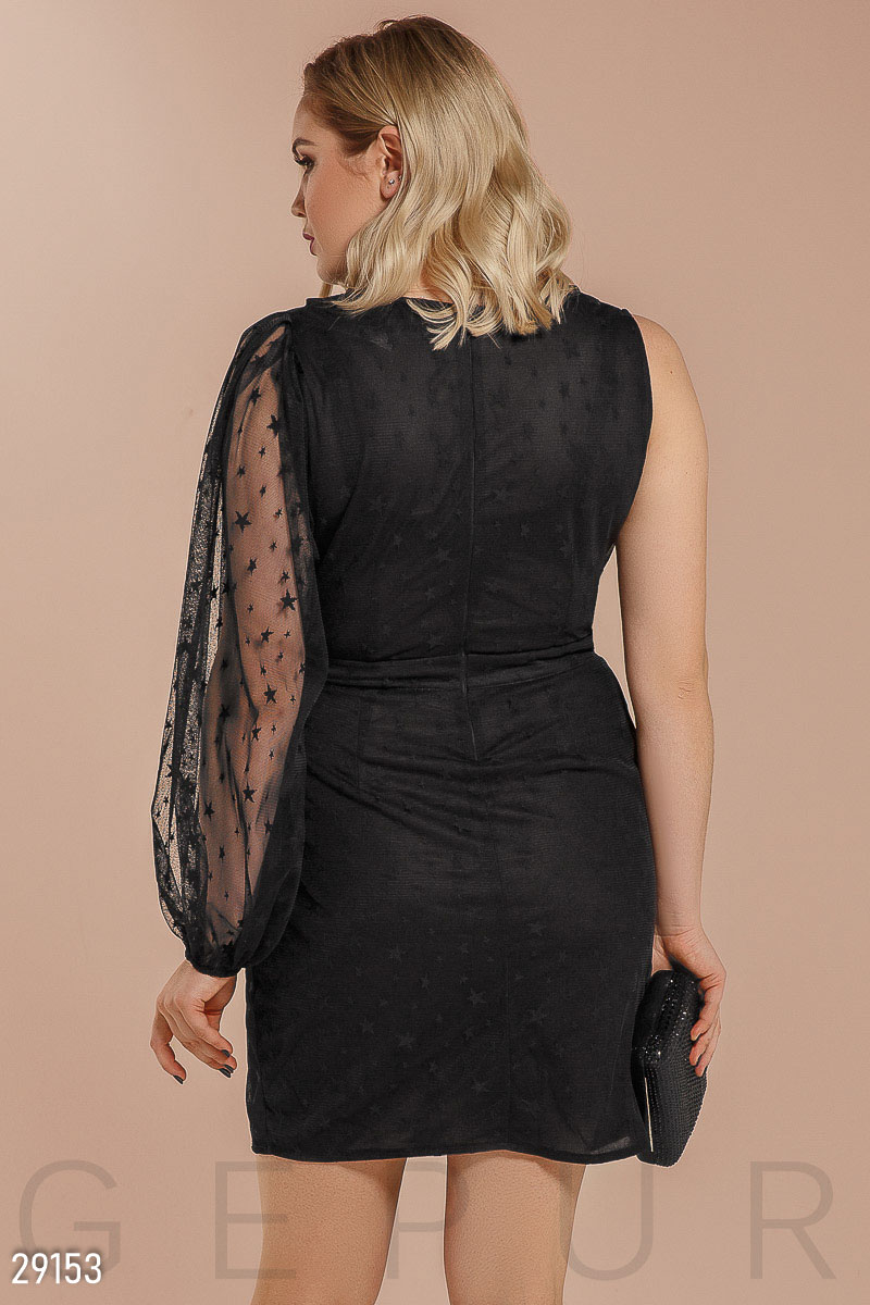 Asymmetrical evening dress Black 29153