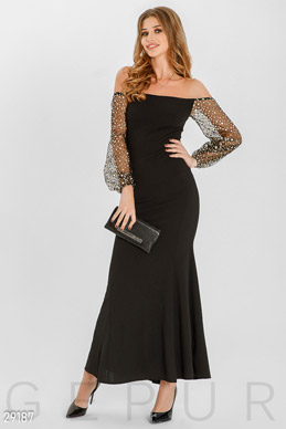 Dress with sheer sleeves photo 1