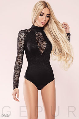 Evening bodysuit in lace photo 1