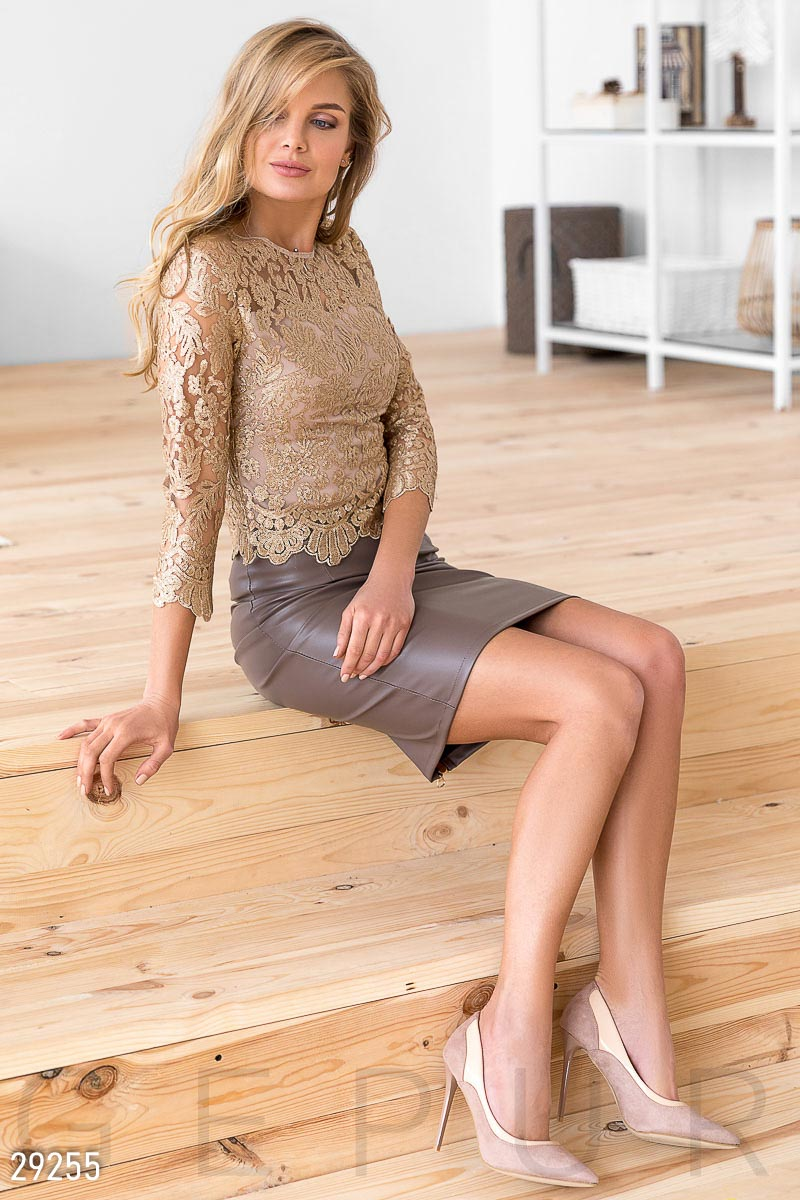 Stylish evening look Beige 29255