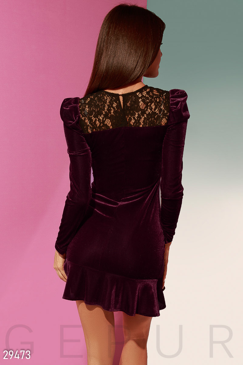 Dress with lantern sleeve Red 29473