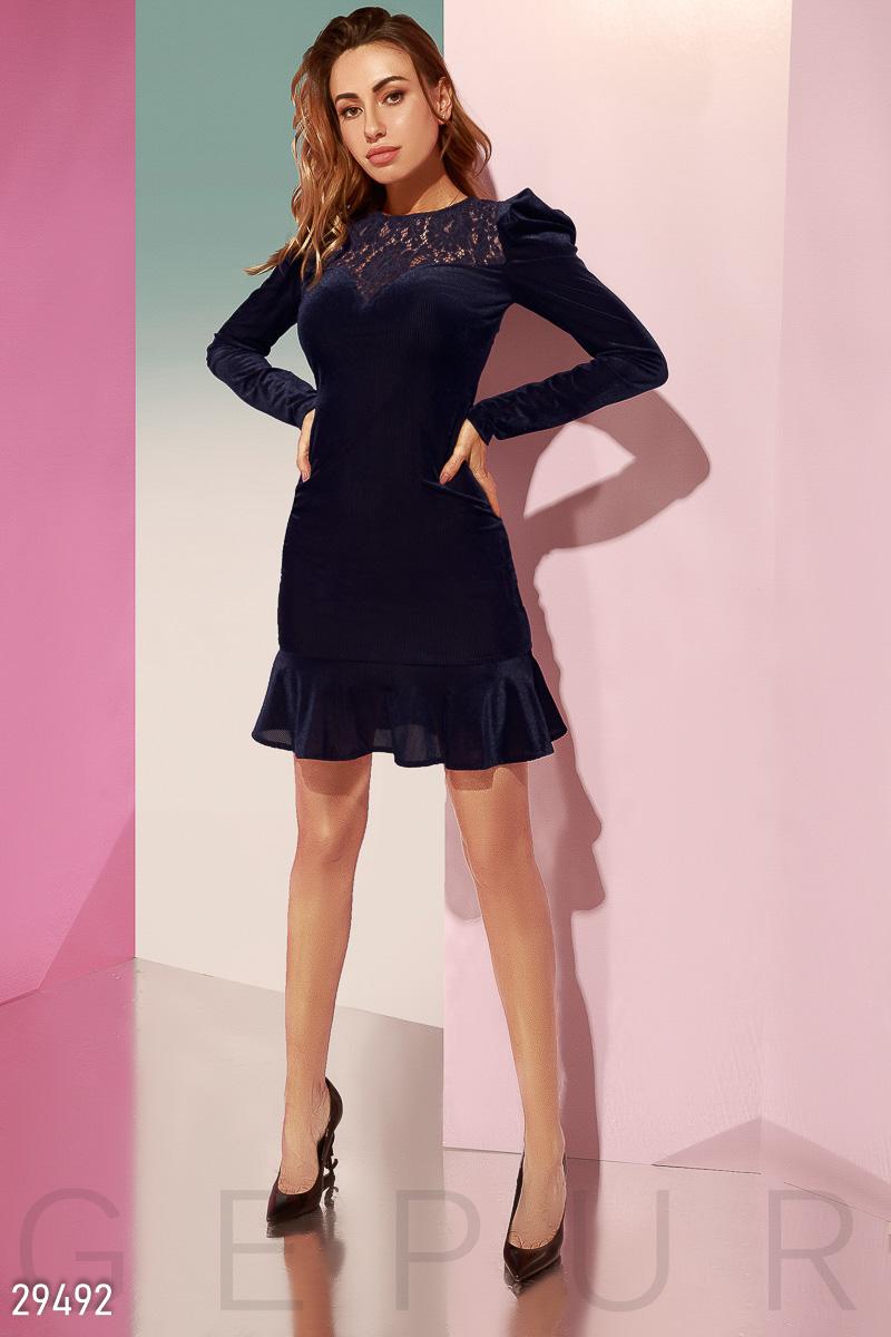 Велюровое облегающее платье 29492