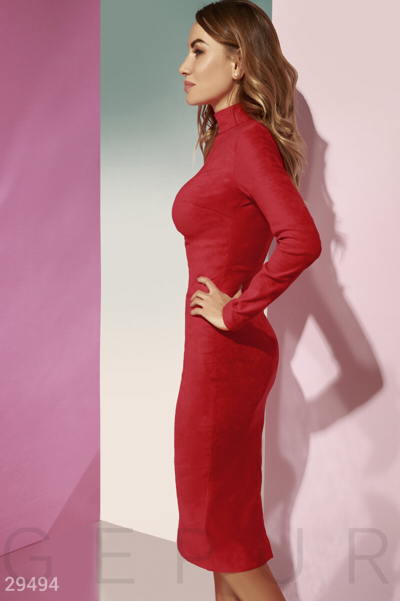 Bodycon dress made from suede Red 29494
