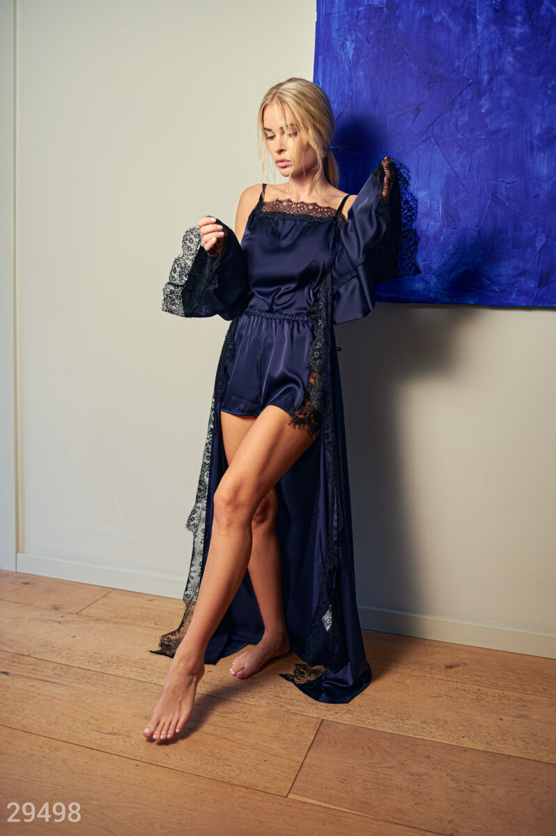 Long robe with lace Blue 29498
