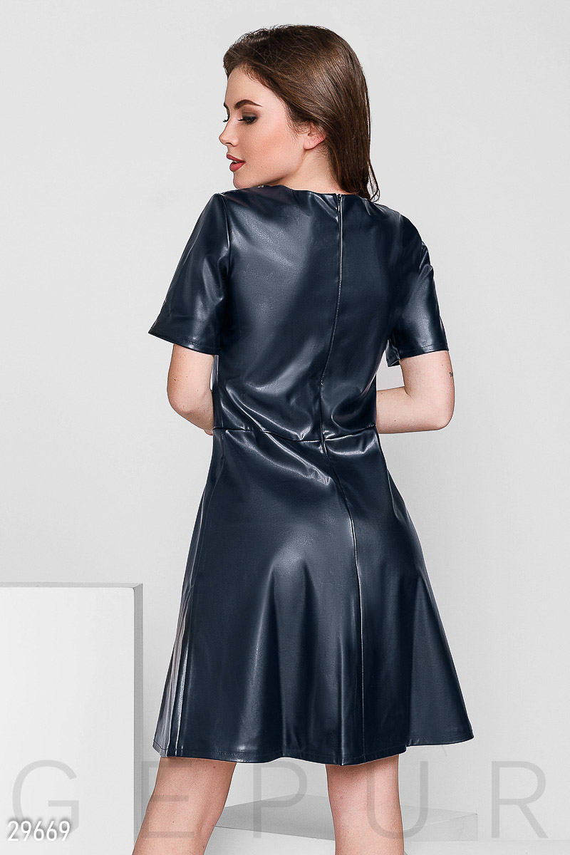 Flared leather dress Blue 29669