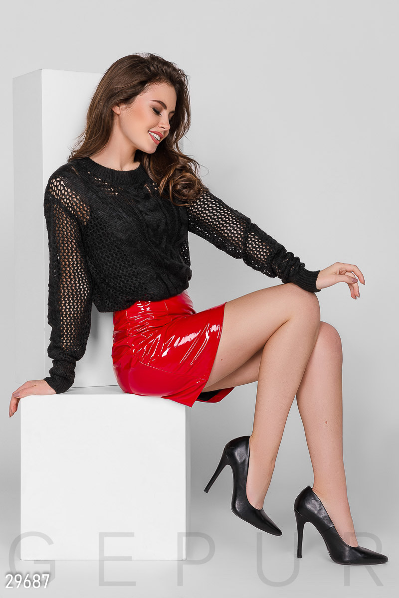 Кожаная юбка-мини