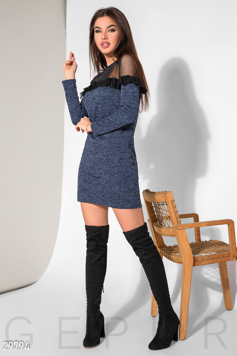 Short dress with ruffles Blue 29794