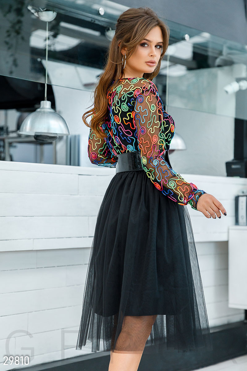 Dress with airy skirt Black 29810
