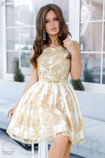 e2289c9d17fae5 платье-мини,сетка с набивным кружевом и пайетками,цвет-золотистый. фото