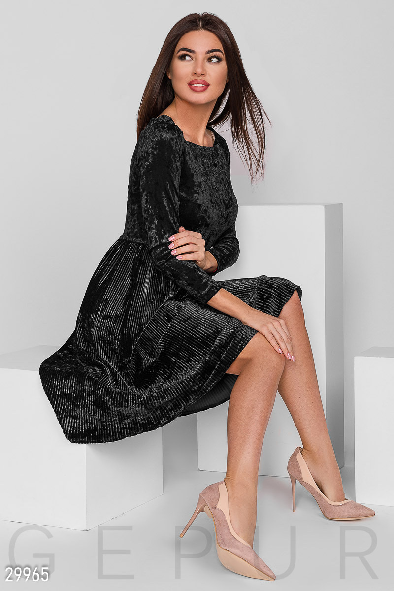 Dress ripple of velvet Black 29965