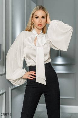 Silk blouse with ties photo 1