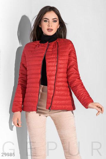 269996b6 куртка-косуха,на синтепоне,асимметричная молния,цвет-красный. фото 0