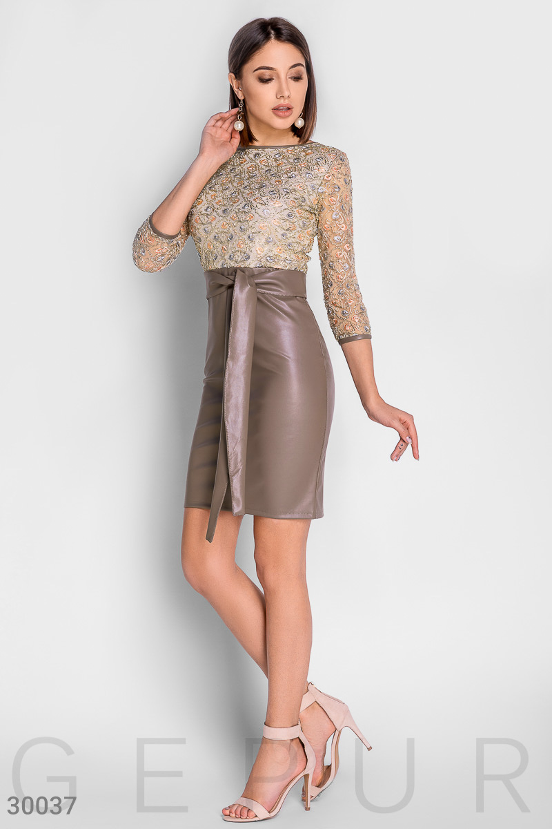 Sexy leather dress Beige 30037