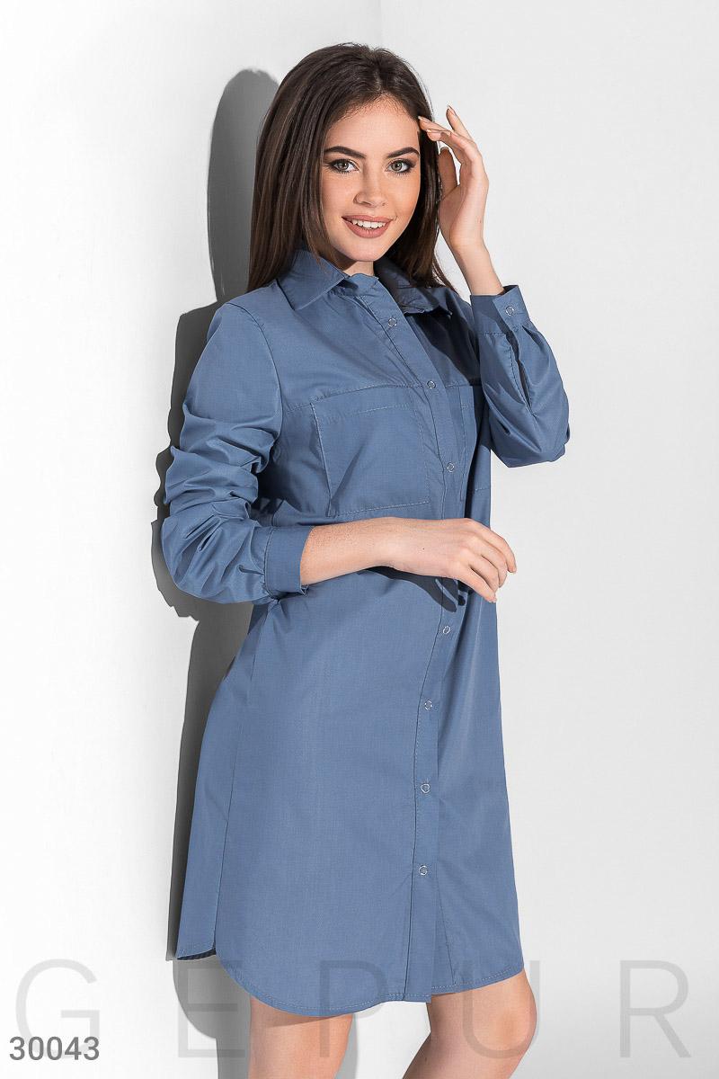Повседневное платье-рубашка, Цвет - голубой.  Фото 1