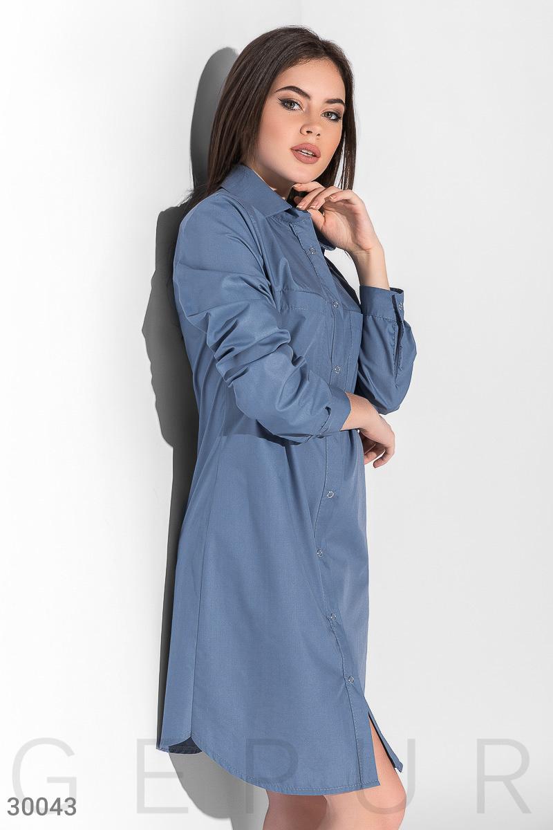 Повседневное платье-рубашка, Цвет - голубой.  Фото 2