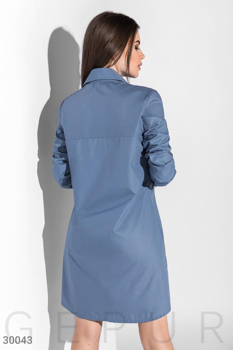 Повседневное платье-рубашка, Цвет - голубой.  Фото 3