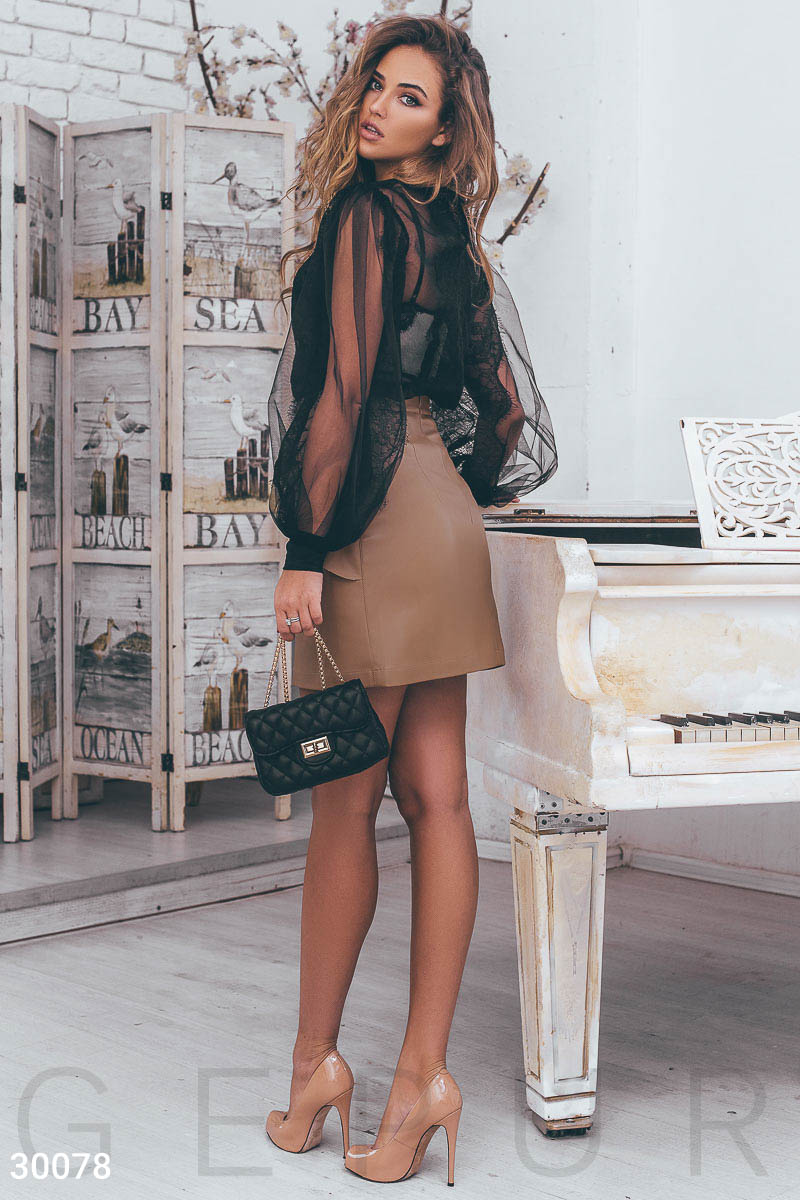 Leather skirt with ruffles Beige 30078