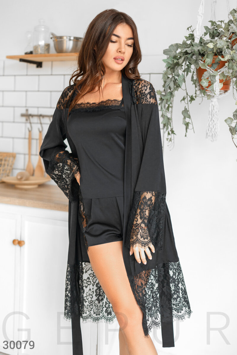 Long silk robe Black 30079